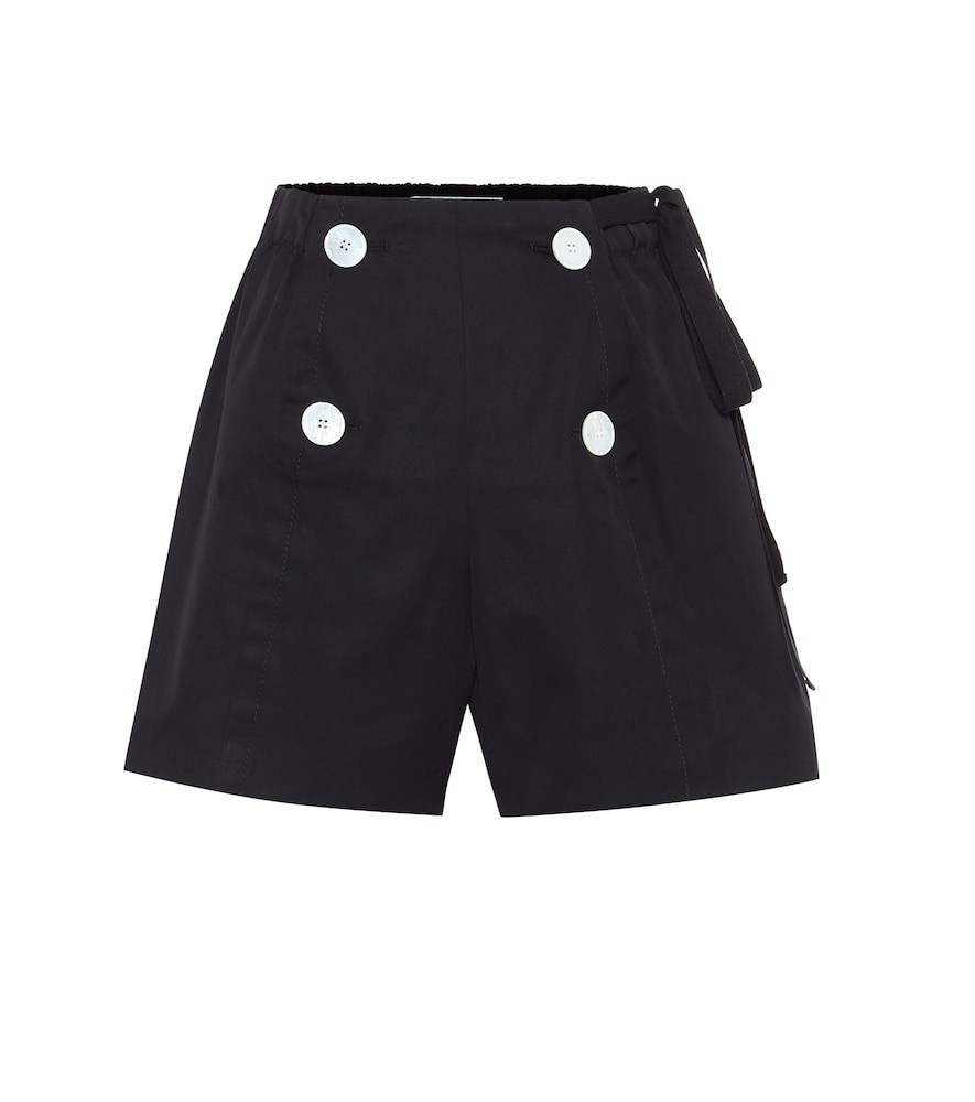 Prada High-rise cotton shorts in black