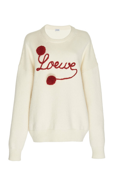 Loewe Pom Pom Logo-Embroidered Wool Sweater in white