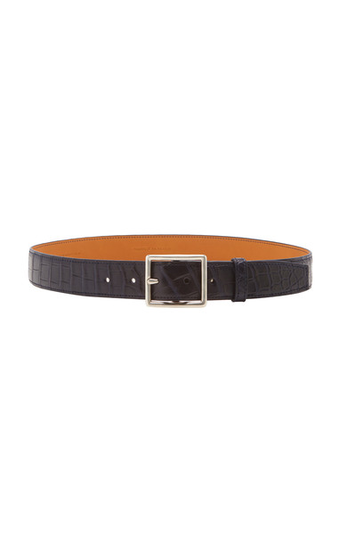 Maison Vaincourt Exclusive Crocodile Skinny Belt Size: 75 cm in navy