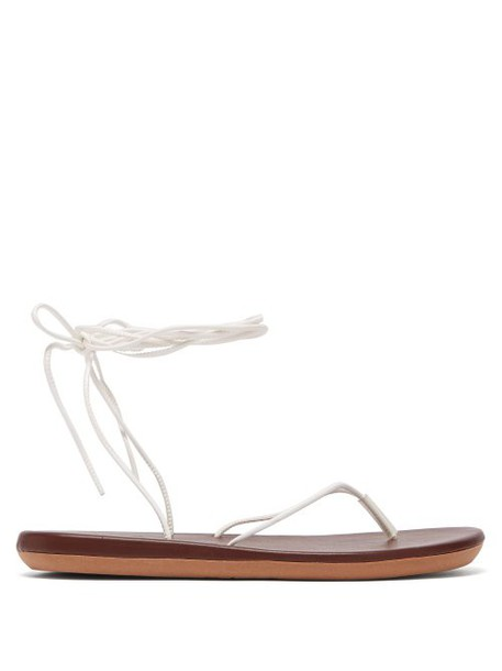 Ancient Greek Sandals - Spaghetti Wrap Around Sandals - Womens - Brown White