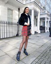 skirt,plaid skirt,mini skirt,black boots,ankle boots,tights,faux fur jacket,white turtleneck top