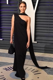 bag,jessica alba,celebrity,oscars,red carpet dress,black dress,maxi dress,asymmetrical