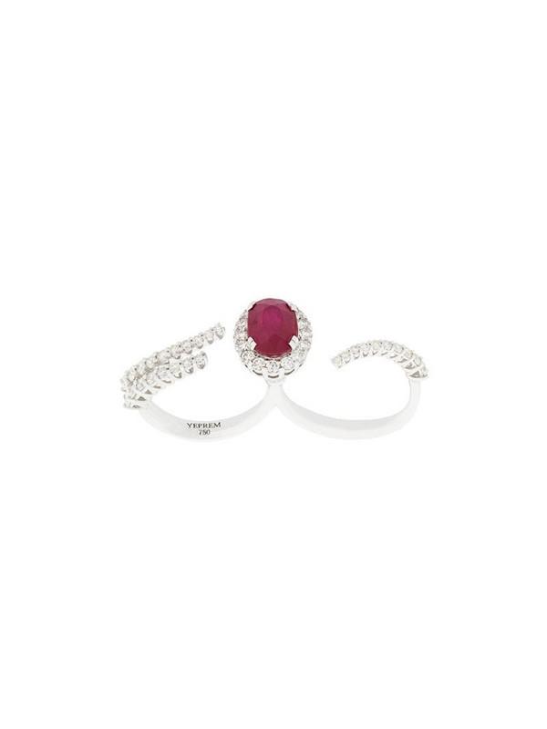 Yeprem 18kt white gold ruby and diamond ring in metallic