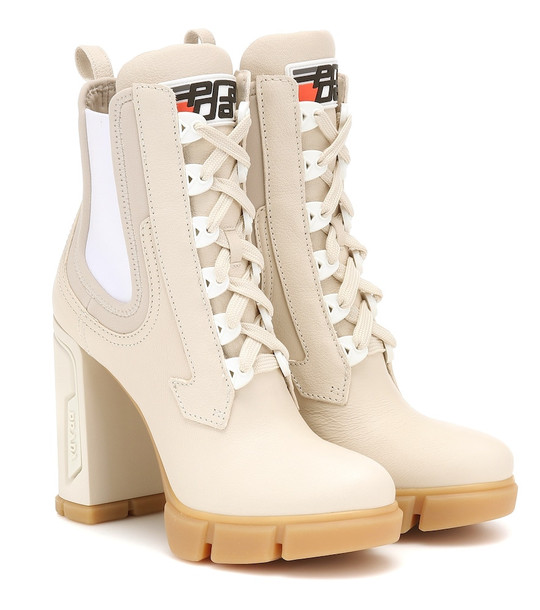 Prada Leather ankle boots in neutrals