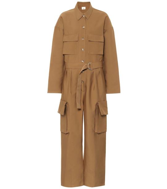 Frankie Shop Linda cotton-blend jumpsuit in brown