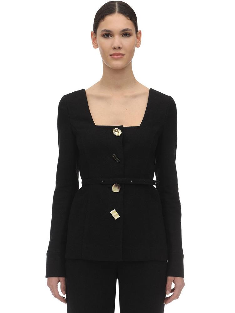 REJINA PYO Martina Linen & Cotton Twill Jacket in black