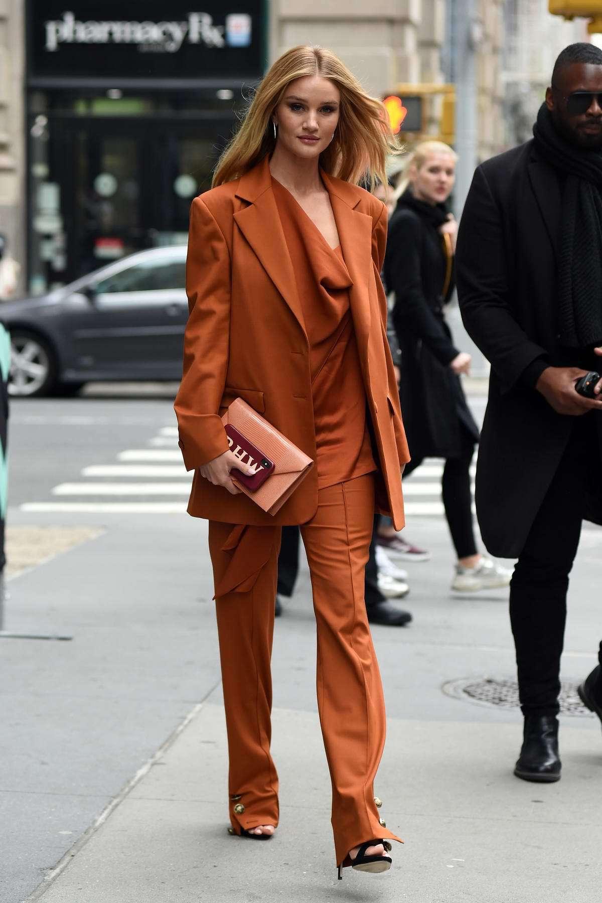 top rosie huntington-whiteley pants asymmetrical celebrity blazer spring outfits orange