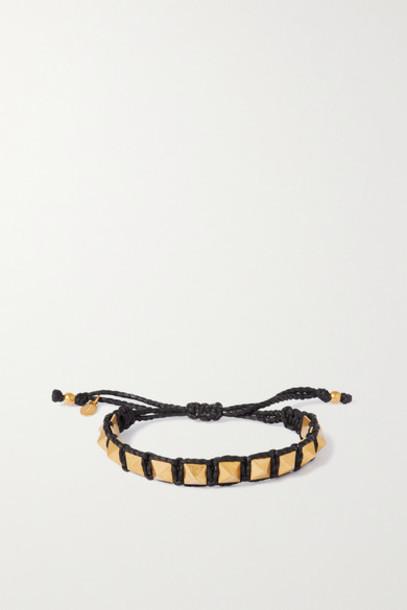 Valentino - Valentino Garavani Rockstud Gold-tone And Cotton Bracelet - Black