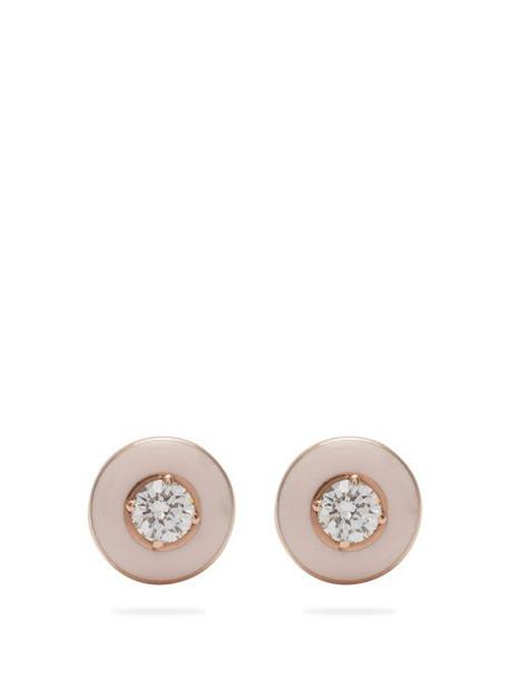 Selim Mouzannar - Mina 18kt Rose Gold, Diamond & Enamel Earrings - Womens - Pink