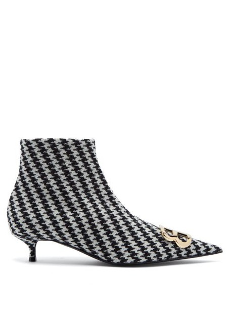 Balenciaga - Houndstooth Bb Ankle Boots - Womens - Black White