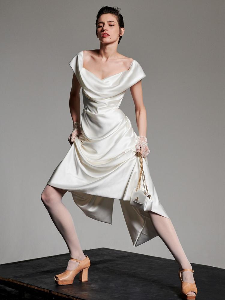 VIVIENNE WESTWOOD Silk Satin Cocotte Dress in ivory