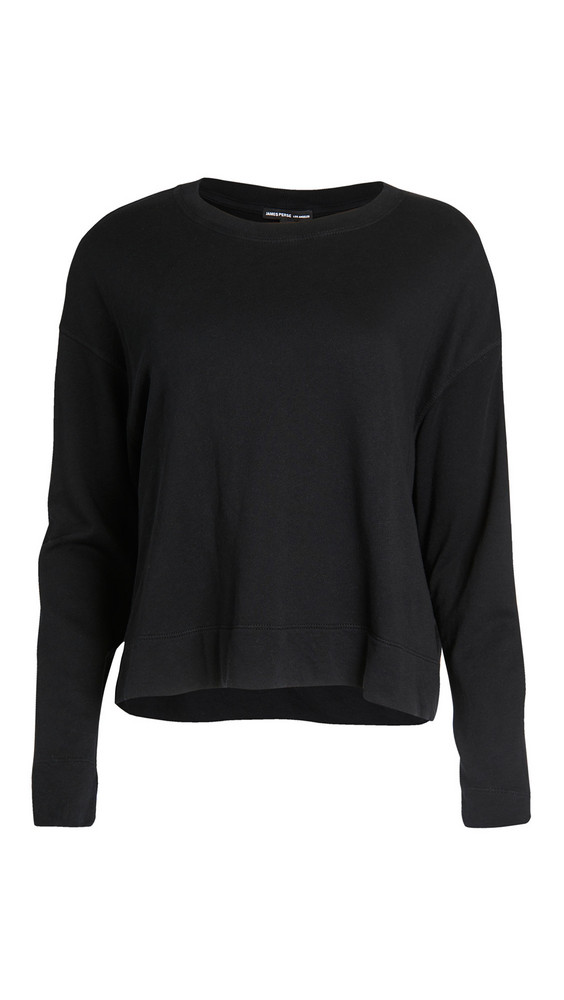 James Perse Relaxed Cropped Pullover Sweatshirt in black