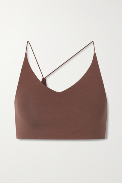 Skin - Glenna Asymmetric Organic Pima Cotton-blend Jersey Soft-cup Bra - Brown