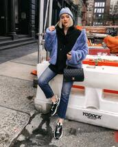 jacket,faux fur jacket,blue jacket,sneakers,jeans,chanel bag,black bag,black hoodie,beanie