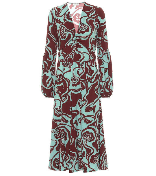 Dries Van Noten Floral midi dress in green