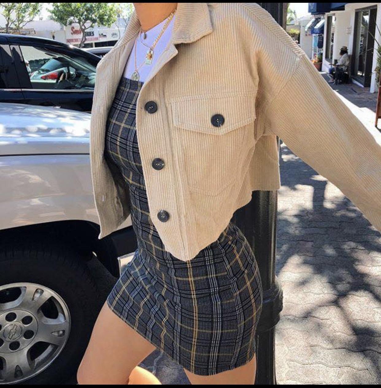 dress stripes plaid mini dress strappy jacket nude cream jacket winter outfits winter jacket summer summer jacket fall outfits autumn jacket