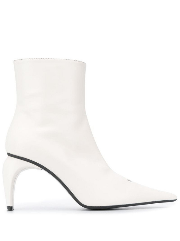 MISBHV curved-heel leather ankle-boots in white