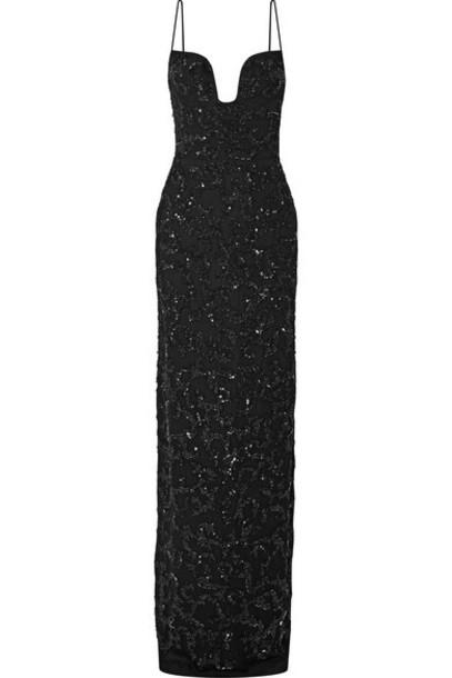 Burnett New York - Embellished Silk-tulle Gown - Black