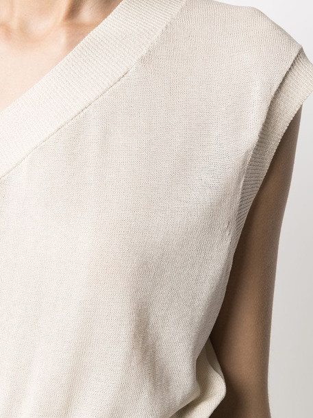 Federica Tosi off-shoulder knitted top in neutrals