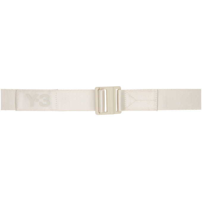 Y-3 Taupe Classic Logo Belt in brown / clear