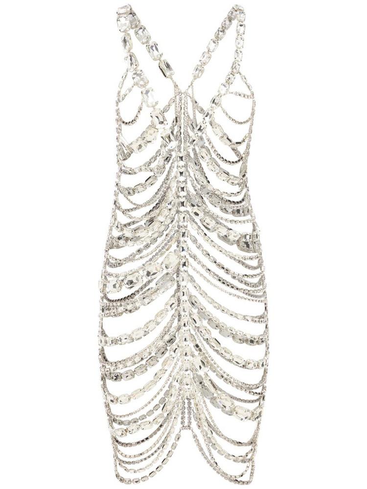 AREA Crystal Embellished Draped Slip Dress in transparent