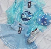 top,blue,skirt,jacket,t-shirt,hat,shoes,cute,kawaii,alien,holographic,outfit idea,outfit,alternative,blue jacket,blue skirt,blue shirt