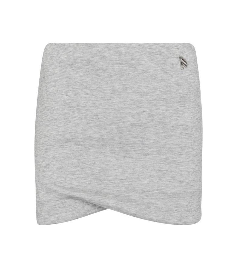 The Attico Ezra cotton-blend miniskirt in grey