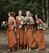 dress,rust,burnt orange,bridesmaid,silk dress