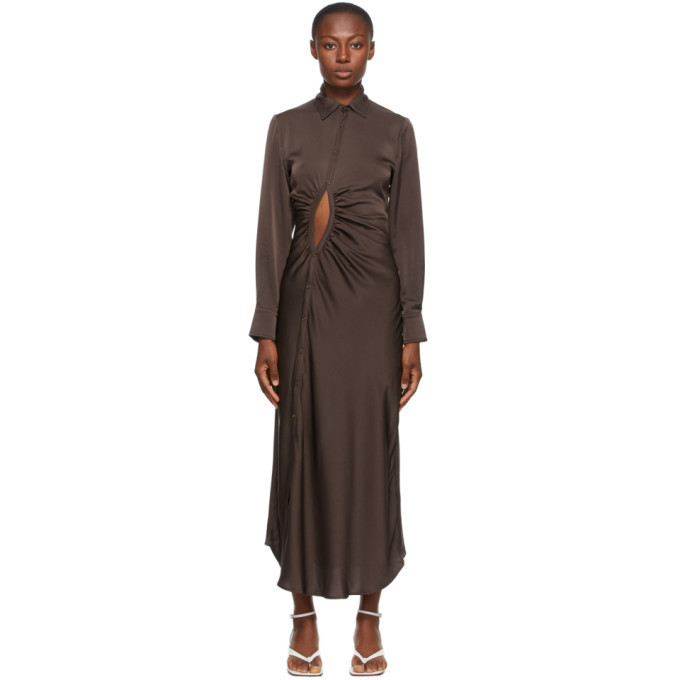 Georgia Alice SSENSE Exclusive Brown Satin Universe Dress in chocolate