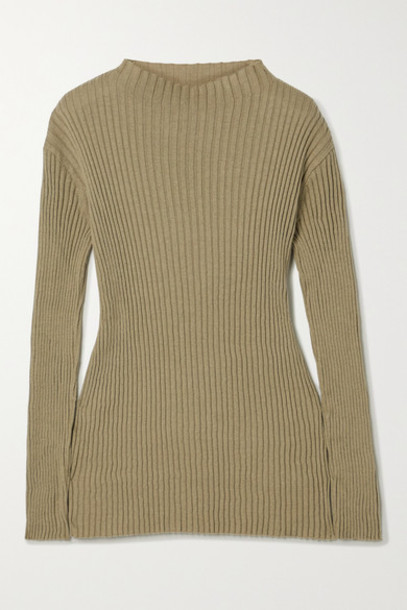 Lauren Manoogian - Column Ribbed Organic Cotton And Mulberry Silk-blend Sweater - Army green