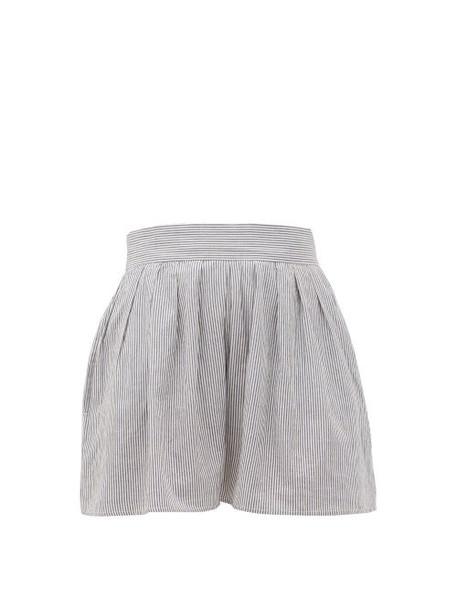 Anaak - Annex Striped High-rise Shorts - Womens - Blue Stripe