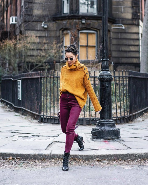 sweater turtleneck sweater knitted sweater free people skinny jeans high waisted jeans ankle boots heel boots
