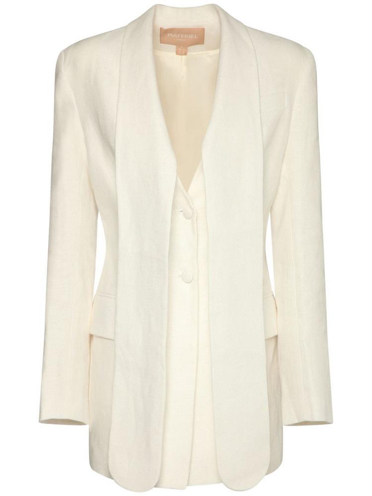 MATÉRIEL Linen Long Lapel Blazer in white