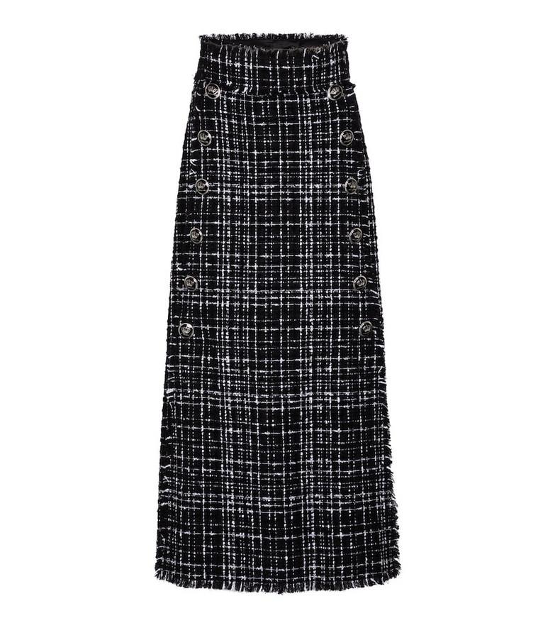 Dolce & Gabbana Tweed cotton-blend midi skirt in black