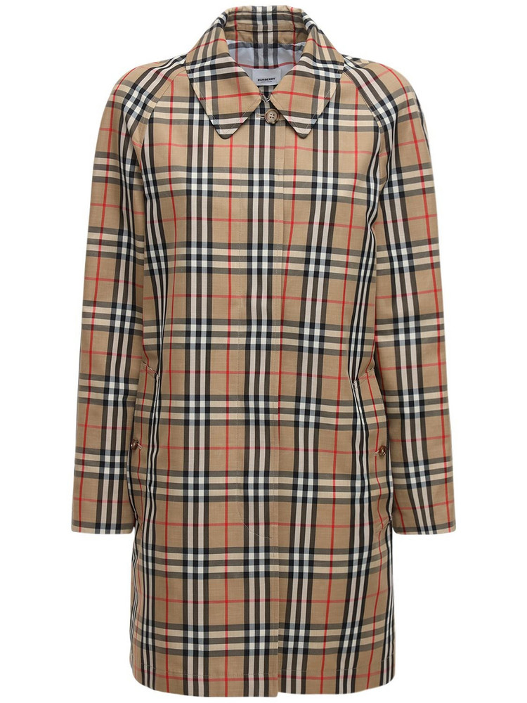 BURBERRY Icon Checked Long Jacket in beige