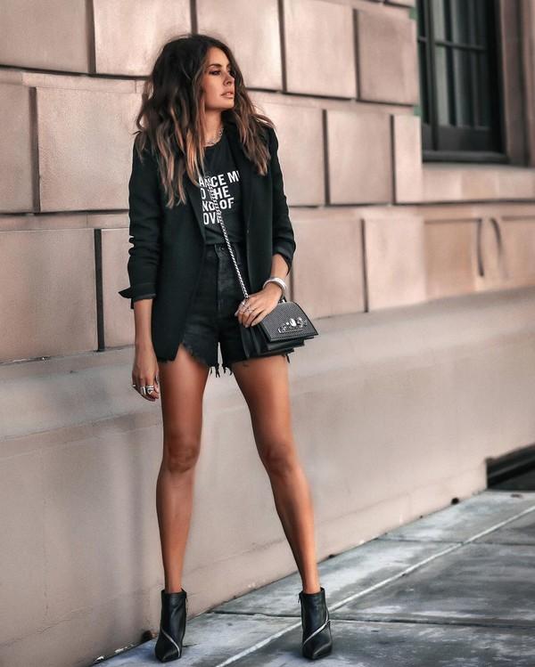 shorts black shorts denim shorts ankle boots black boots black blazer black bag black t-shirt