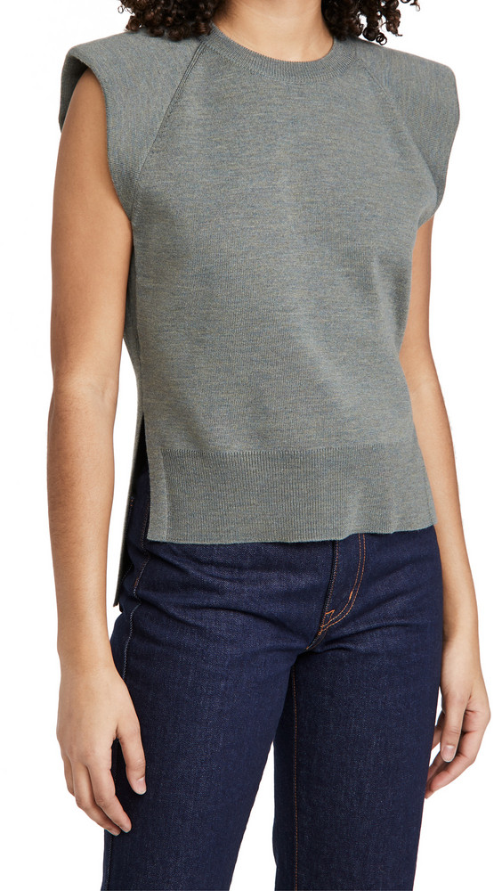 Jonathan Simkhai Collins Recycled Knitwear Padded Shoulder Tank in green