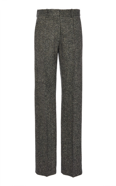 Victoria Beckham Donegal Tweed Flat Pleat Straight Leg Trouser Size: 6 in grey
