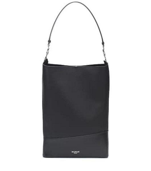 Balmain Polygon Medium leather shoulder bag in black