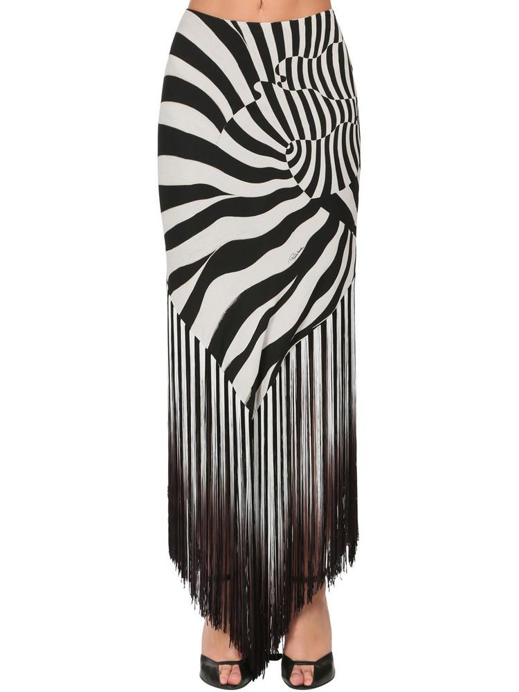 ROBERTO CAVALLI Zebra Print Silk Skirt W/fringe in black / white
