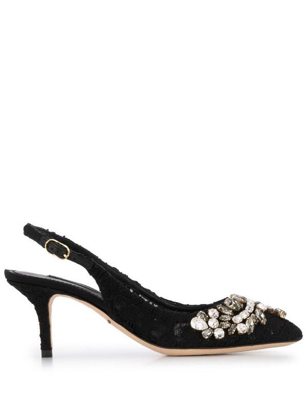 Dolce & Gabbana embellished floral lace pumps in black