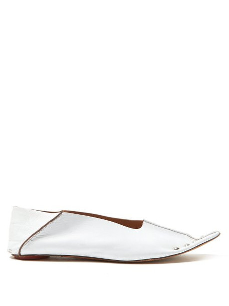 Marni - Collapsible Back Studded Leather Flats - Womens - White