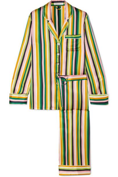 Olivia von Halle - Lila Striped Silk-satin Pajama Set - Green