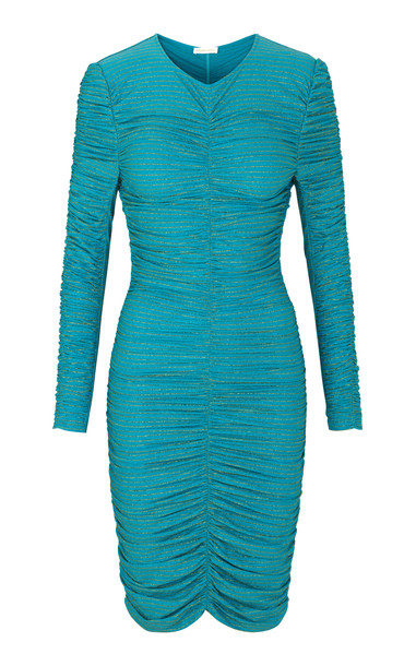 Stine Goya Blake Gloss Ruched Mini Dress Size: XL in blue