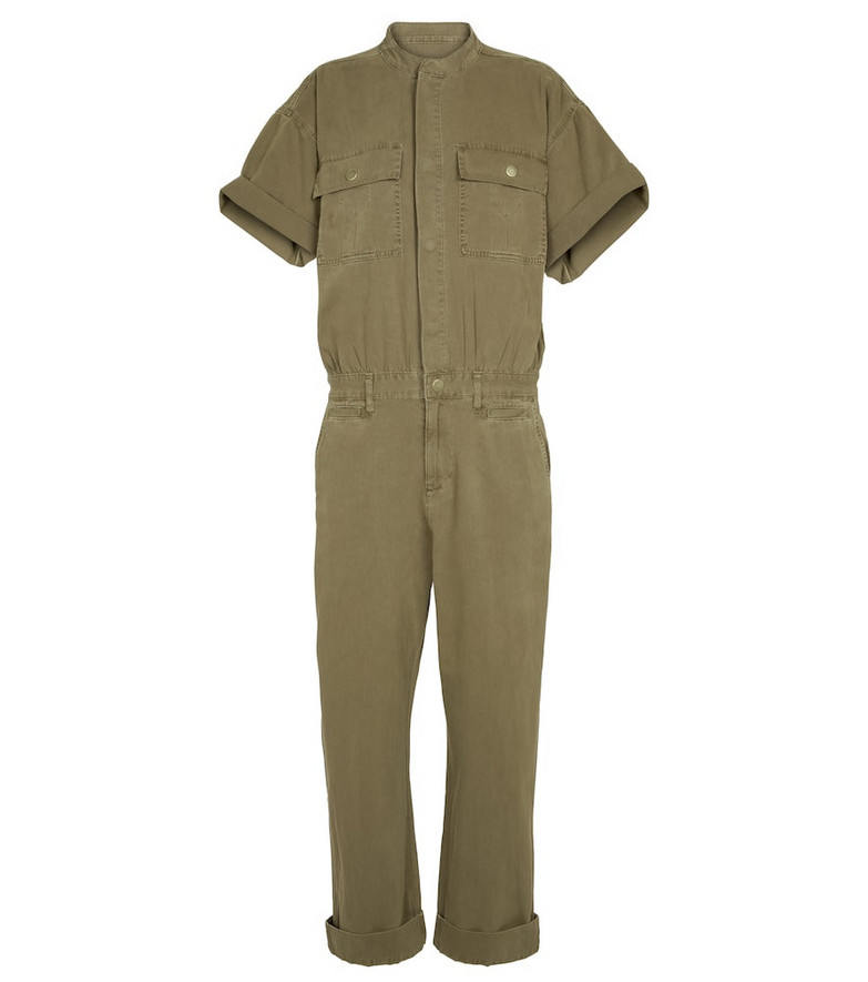 Frame Le Tomboy cotton twill jumpsuit in green