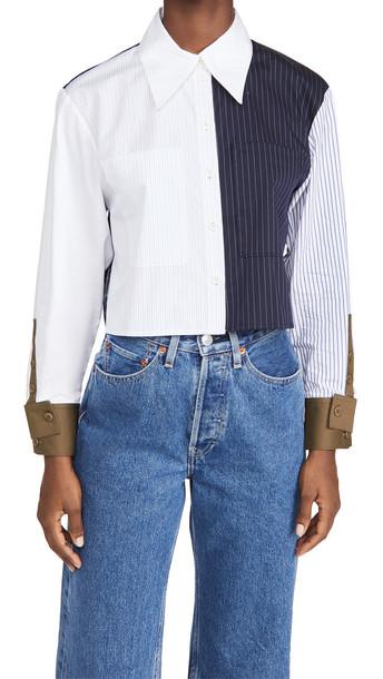 Tibi Cropped Shirt in navy / multi