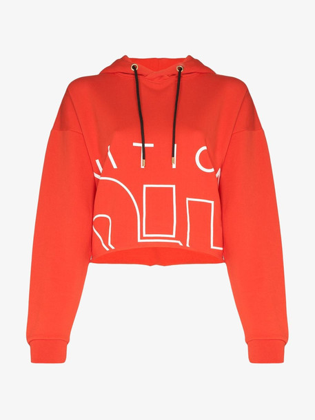 P.E Nation Restart logo cotton hoodie in red