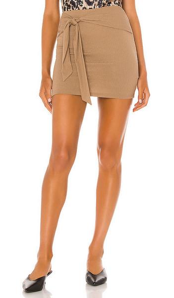 Lovers + Friends Lovers + Friends Justina Tie Mini Skirt in Brown
