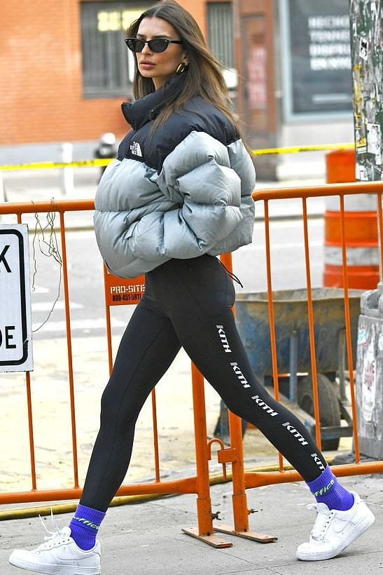 jacket puffer jacket leggings streetstyle emily ratajkowski model off-duty sneakers