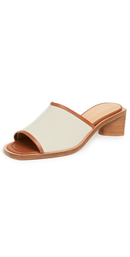 Acne Studios Two Tone Mule Sandals in ecru / beige